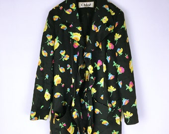 CHLOE 80's-90's vintage Flower pattern linen design jacket coat