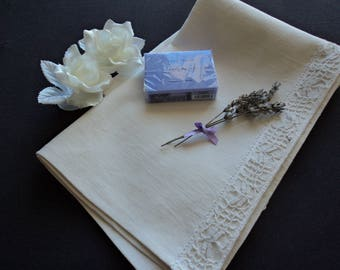 French vintage hand made pure linen and lace guest towel / hand towel (H1)