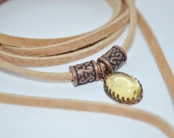 Choker Tan Suede Wrap & Amber, Amber Suede Choker, Copper and Amber Suede Choker