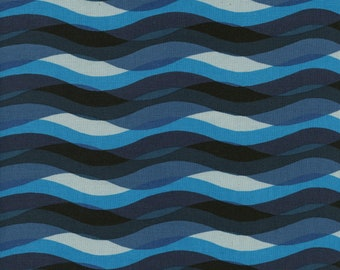 Cotton + Steel- Poolside- Waves- Blue- Melody Miller, Alexia Abegg