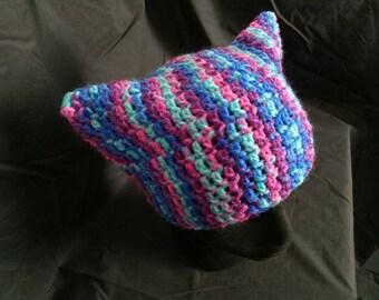 Purple/ Pink/ Blue Kitty Beanie