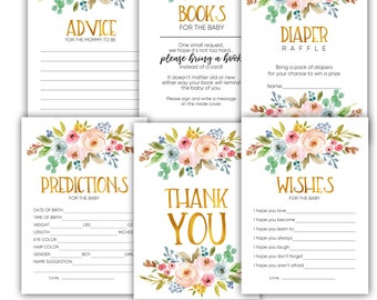 Baby shower games, baby shower gift, shower games printable, advice for mommy, book for baby, wishes for baby, diaper raffle, thank you card