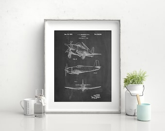 1947 Airplane Canvas Patent Art, Airplane Decor, Aviation Art, Airplane Canvas, Airplane Print, Plane Art, PP0082