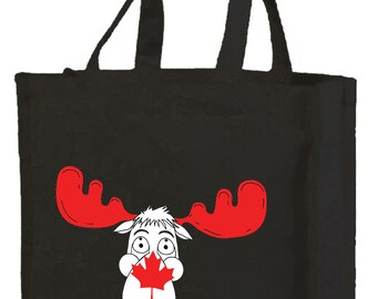 Canadian Moose  Shopping Bag with gusset and long handles, 3 colour options
