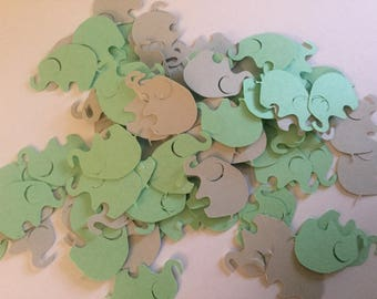 Elephant Confetti, Elephant Baby Shower, Mint Green Gray Elephant Confetti, Elephant Die Cut, Elephant Cut Out, Elephant Birthday