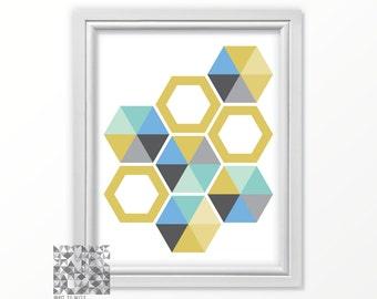 Geometric Print Contemporary Art Hexagon Print Abstract Print Abstract Art Digital Print Art Modern Art Wall Decor Mint Aqua Mustard Blue