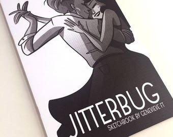 Jitterbug lindy hop artbook, artist sketchbook, retro cartoon, swing dance illustration art, art book, black and white drawing