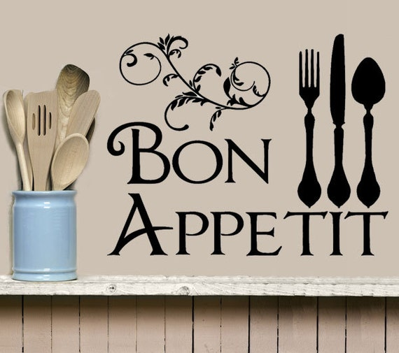 Kitchen Wall Decal Bon Appetit Decal Fork Knife Spoon