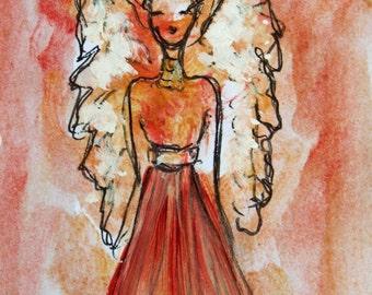 Red Angel Painting, Original Acrylic  Painting, Guardian Angel, Small Paintings, Angel Art, Spiritual art