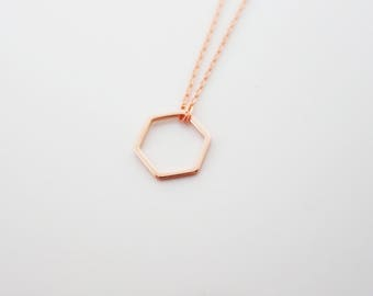 587. Rose gold plated, Hexagon Pendant Necklace, Dainty Hexagon Necklace, Geometric Pendant Necklace, Geometric Jewelry - choose your length