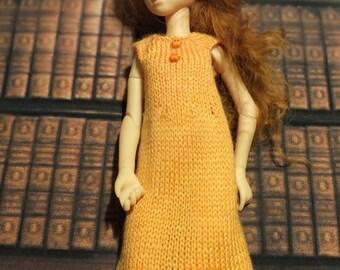 Handmade Blythe / Azone / Obitsu / Barbie doll light orange dress