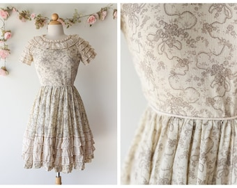 Vintage 1970's Cream Floral Dress - Toile Print Dress with Full Skirt - Floral Print Earth Toned Dress with Ruffles