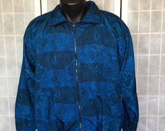 Vintage 1980s/90s// Blue Teal Paisley Geometric // Zip Up Windbreaker// L