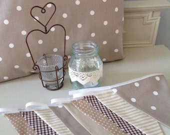 Beautiful cushion cover & Bunting,neutral shades baby's nursery/bedroom vintage style,shabby chic spotty stripe