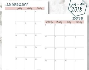 The 2 Page Calendar, Sunday Start | January - December 2018 | Half Letter Size | Printable Planner | Monthly Calendar | OG Style