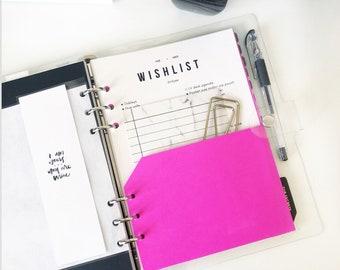 Hot Pink Planner Pocket - A5 or Half Letter Size
