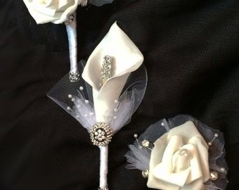 Brooch Boutonniere, Grooms Boutonniere, Wedding Boutonniere, Will Customize to Match Your Wedding Colors