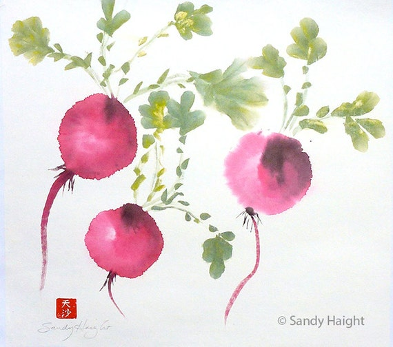 Original Sumi Color Painting, Radishes, Root Vegetable, Garden, Kitchen, Wall Art, Home Decor, Gift, Cook, Spring, Earth, Gardener, food,art