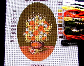 NEEDLEPOINT KITS. //Rico Goblin. a Kit of a Floral Bouquet in a vase/ Oval/Stranded Cotton Included.// Was(18.00)Now!