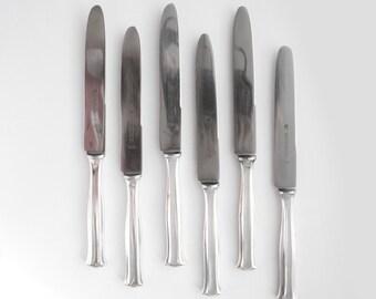 6 Silver Plated Dinner Knives, Vintage Silver Cutlery, Zwilling Silver Plated Knives, Wellner Silver 100 Knive Set