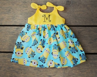 Minion dress, minion baby dress, minions inspired, bello, gru, baby outfit, birthday dress,  personalized coming home outfit