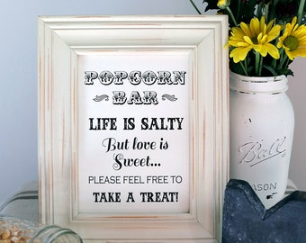 8x10 Instant Download - Popcorn Bar- Wedding Favor - Candy Bar Printable Black and White File, Life Is Salty But Love Is Sweet, Grab A Treat