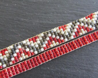 TOHO woven bracelet / red, white, silver and brown