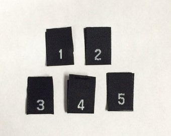 Relatively Woven Black Size Label Tabs Size XXS XS S M L XL Xxl 3XL 4XL  OO15