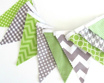 Bunting Banner, Pennant Flags Wedding banner, Baby Nursery banner, Birthday Banner, Baby Shower Decor Lime Grey Chevron Fabric Flags