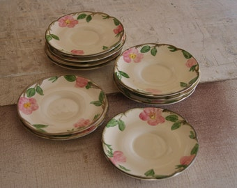 Lot Of 10 Franciscan Pottery Saucers DESERT ROSE Pattern Made 1941 To 1984