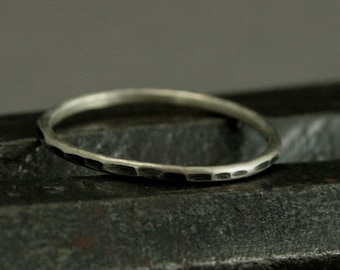 Mini Hammered Stacking Band - Silver Stack Ring - Thin 1.3mm Silver Band - Add Texture to Your Stacking Set - Hand Made Just for YOU