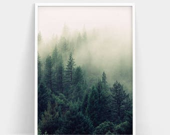Forest Print, Forest Photography, Nature Prints, Forest Wall Art, Nature Wall Art, Woodland Print, Fogs Print, Forest Poster, Minimalist Art
