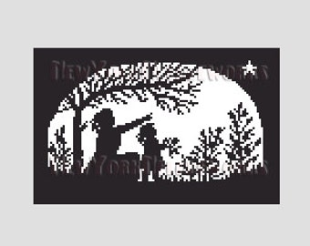 Girls Silhouette Cross Stitch, Girl Pointing at Star Silhouette, Girls Silhouette, Children Silhouette, Star, Silhouettes NewYorkNeedleworks