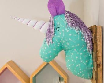 Unicorn wall mount art. Unicorn Head. Magical unicorn. Faux Taxidermy. Mint & Lavender. Arrows print. Room Decor. Whimsical Decor.