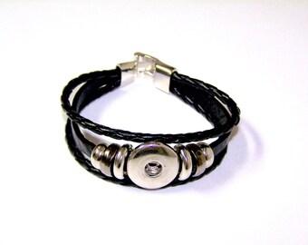 Black Leather SNAP Bracelet for 18mm snap chunks