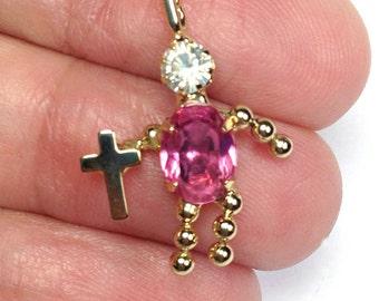Rosa Strass Menschen charm Anhänger, Kreuz Anhänger, religiöse Charm, Pinkrhinestone, religiöse Kreuz erste Kommunion Anhänger