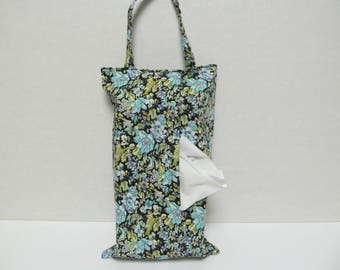 Hanging Tissue Box Cover For 85 Count Kleenex/Blue Flower