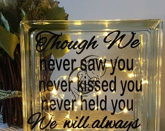 Glass light block, baby memory, baby loss, miscarriage, memorial