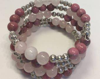 Bracelet Memory Wire 4 Coils Wrap Pink Quartz Rhodolite