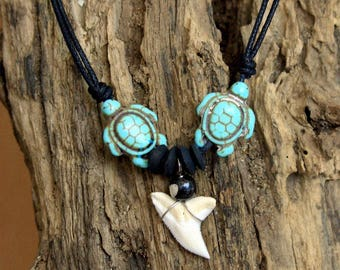 Necklace tooth shark pendant surfer chic boho 2 turtles turquoise howlite wood coconut carved bone adjustable black cord
