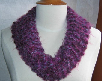 Shades of Plum and Steel Blue Scarf Cowl Neck Warmer