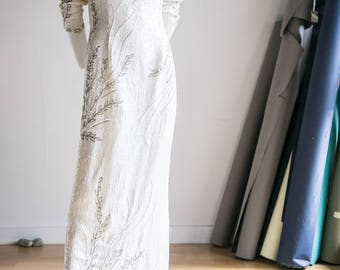 Vintage Wedding Dress | Beaded White Dress | Performance  Dress | Stage Dress | White Sequin Dress | Beaded Gown | Sequin Gown | Sequin Maxi