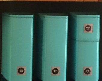 Vintage Turquoise Blue retro metal canister set ***REFURBISHED AND REPAINTED***