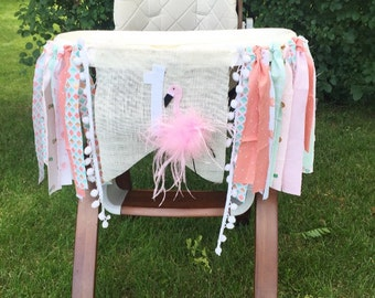 Flamingo and Pineapple Highchair Banner - Birthday Banner - Flamingo Banner - Pineapple Banner