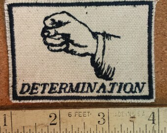Embroidered Upcycled Canvas Vintage Graphic Gestures Determination Feminist Protest Iron On  Hat Jacket Patch