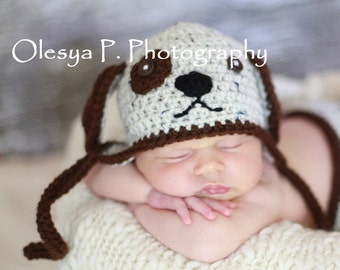Download PDF crochet pattern 055 - Puppy hat - Multiple sizes from newborn through age 4