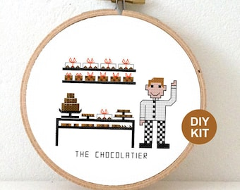 Cross Stitch Kit Chocolatier. Gift for chocolate addict. DIY New job gift. Embroidery kit including hoop.