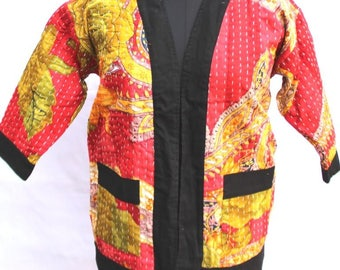 Indian kantha jacket / kimono in gorgeous color / one of kind antique reversible coat