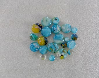 Small Lot of Light Blue and Yellow Fused Glass Cabochons
