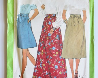 Vintage 1970's Sewing Pattern Tie Waist Midi Skirt and Maxi Skirt Size 14 Simplicity 8295